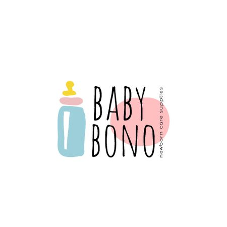 Plantilla de diseño de Kids' Products Ad with Baby Bottle Icon Animated Logo