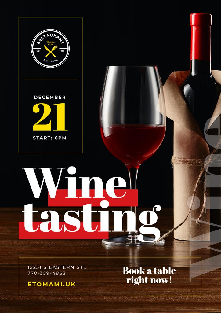Wine Tasting Event with Red Wine in Glass and Bottle — Створити дизайн