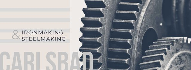Template di design Moving metal cogwheels Facebook cover