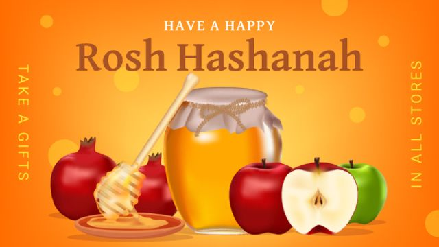 Plantilla de diseño de Rosh Hashanah Greeting Apples with Honey Title