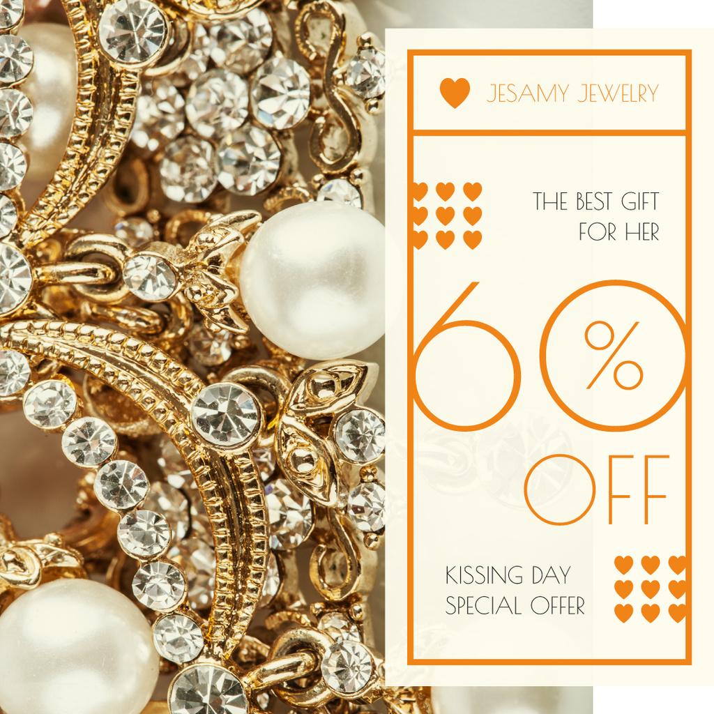 Luxury Jewelry Ad with Diamonds and Pearls Instagram Modelo de Design