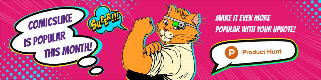 Product Hunt Campaign Promotion with Cat in Comics Style - Bir Tasarım Oluşturun