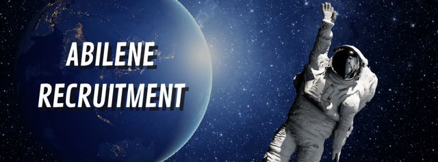Recruitment services Astronaut in outer space Facebook Video cover Design Template