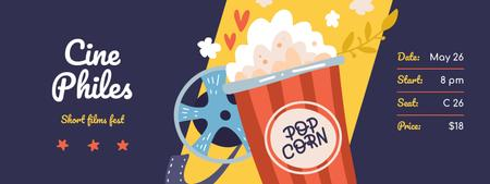 Designvorlage Short Film Fest with Popcorn and Reel für Ticket