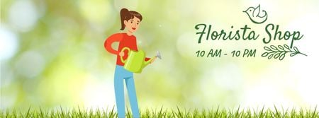 Template di design Girl watering corn plants Facebook Video cover