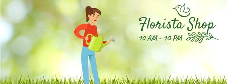 Designvorlage Girl watering corn plants für Facebook Video cover
