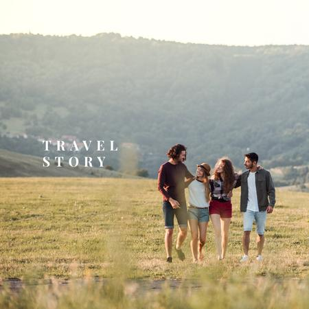 Young Friends taking road Trip Photo Book Modelo de Design