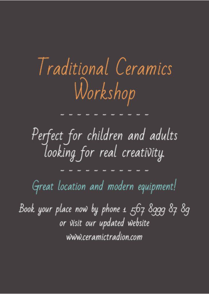 Traditional Ceramics Workshop promotion Invitation Tasarım Şablonu