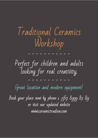 Traditional Ceramics Workshop promotion Invitation Modelo de Design