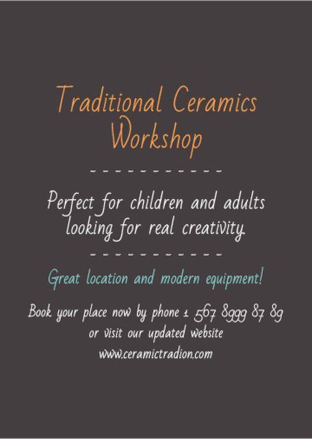 Ontwerpsjabloon van Invitation van Traditional Ceramics Workshop promotion