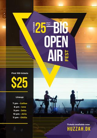Designvorlage Open Air Fest Invitation with Band on Stage für Poster