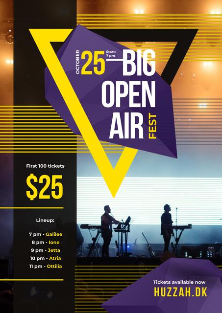 Ontwerpsjabloon van Poster van Open Air Fest Invitation with Band on Stage