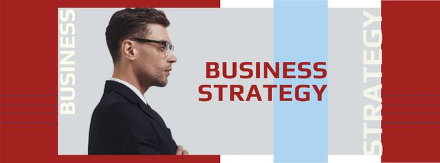 Business Strategy promotion confident Man in Suit Facebook cover – шаблон для дизайна