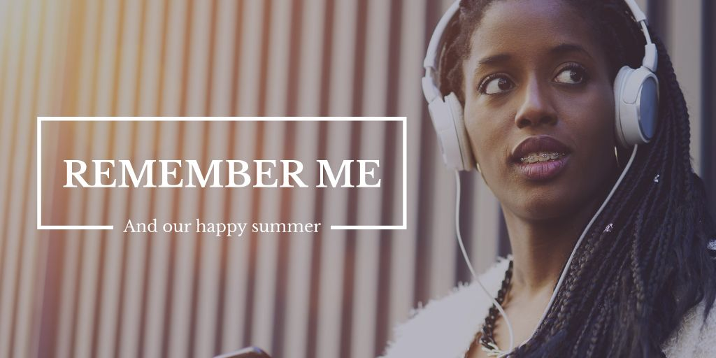 beautiful woman in headphones listening music   — Maak een ontwerp