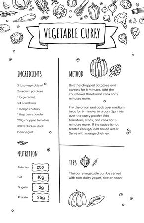 Ontwerpsjabloon van Recipe Card van Vegetable Curry Cooking process