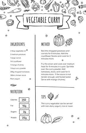 Vegetable Curry Cooking process Recipe Card Modelo de Design