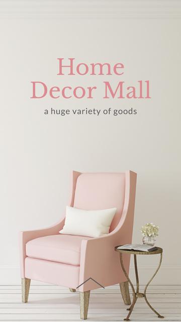 Ontwerpsjabloon van Instagram Story van Furniture Store ad with Armchair in pink