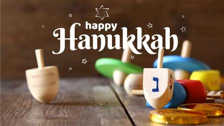 Plantilla de diseño de Happy Hanukkah dreidel Full HD video
