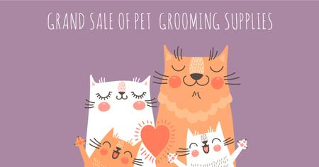 Sale of pet grooming supplies with Cute Cats Facebook AD Modelo de Design