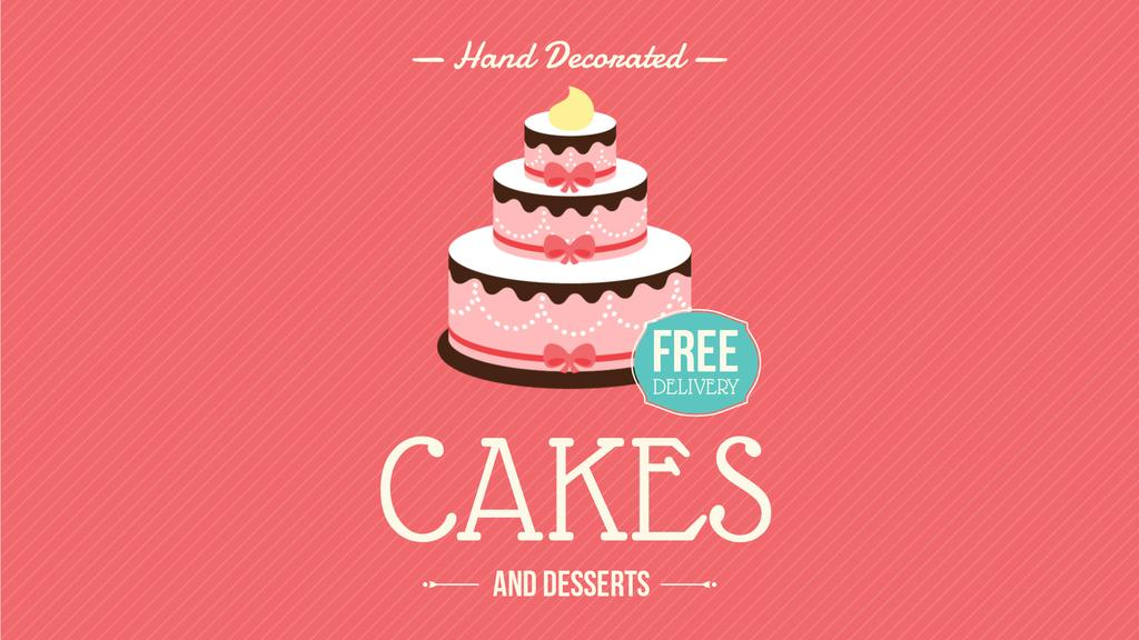 Bakery Ad with Layered Pink Cake — Modelo de projeto