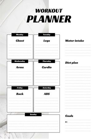 Plantilla de diseño de Workout Program for the Week Schedule Planner