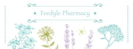 Ontwerpsjabloon van Facebook cover van Pharmacy Ad with Natural Herbs Sketches