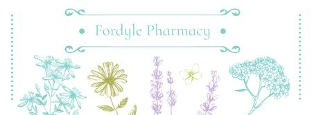 Pharmacy Ad with Natural Herbs Sketches Facebook cover – шаблон для дизайну
