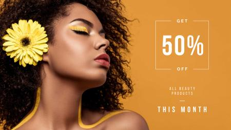 Plantilla de diseño de Beauty Products Ad with Woman with Yellow Makeup FB event cover