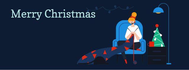 Modèle de visuel Woman knitting by Christmas tree - Facebook Video cover