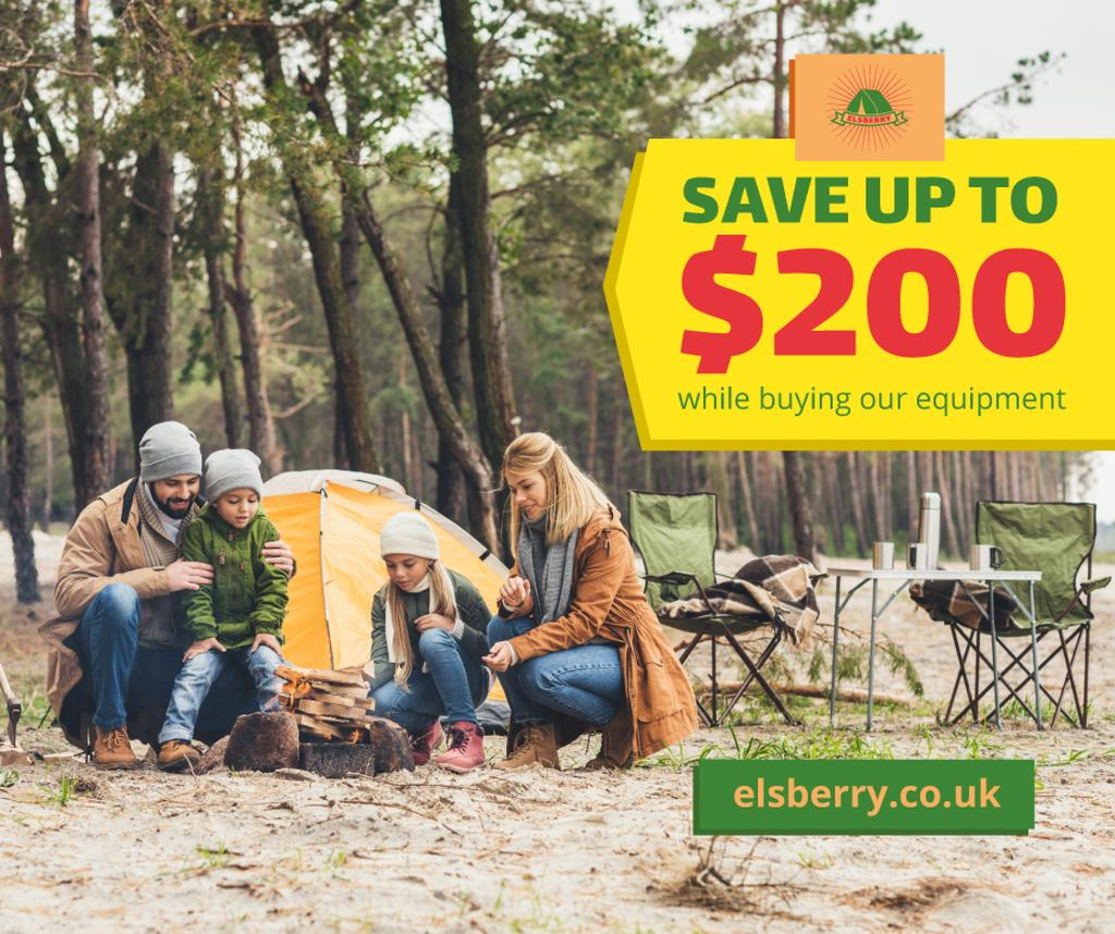 Family camping in forest — Créer un visuel