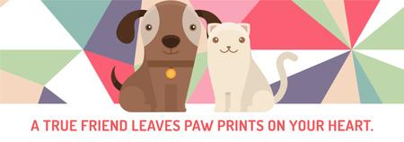Ontwerpsjabloon van Tumblr van Pets Quote Cute Dog and Cat