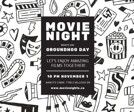Ontwerpsjabloon van Large Rectangle van Movie night event