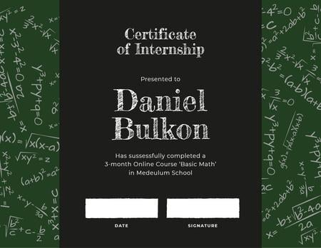 Math Course Internship completion Certificate Modelo de Design