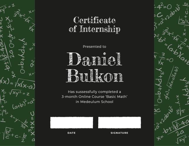 Modèle de visuel Math Course Internship completion - Certificate