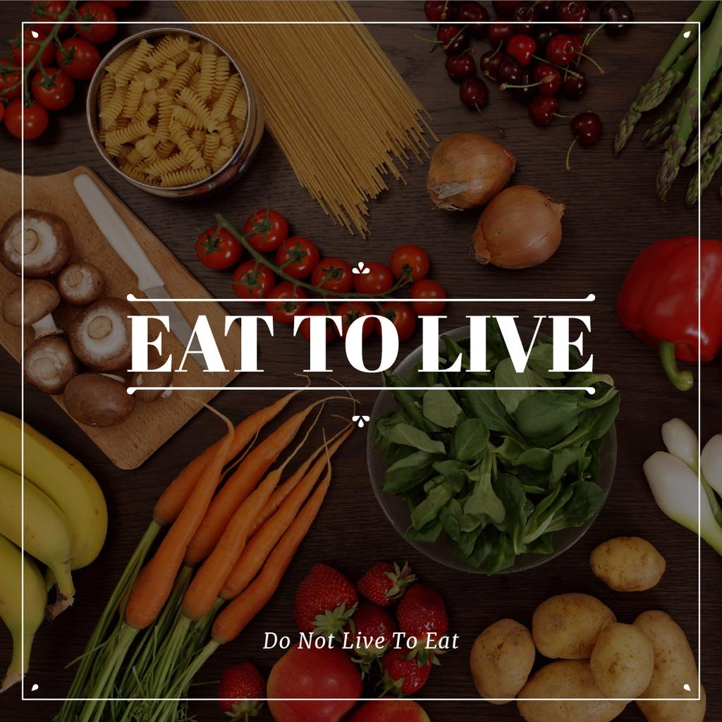 eat to live poster with fresh ripe vegetables  — Crear un diseño