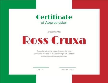 Template di design Speaking Club Contest Appreciation award Certificate