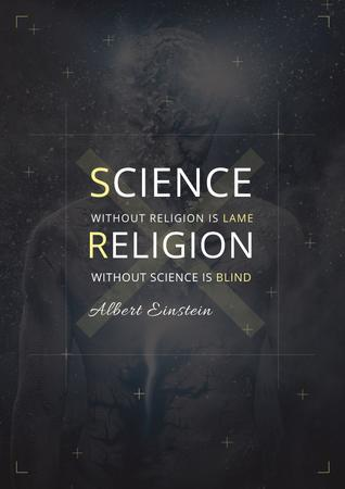 Plantilla de diseño de Citation about science and religion Poster