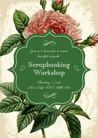 Scrapbooking workshop invitation on Rose flower Flayer – шаблон для дизайна