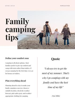 Family Camping Tips with Family on the beach Newsletter – шаблон для дизайна