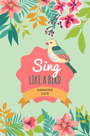 Plantilla de diseño de Karaoke Cafe Ad Cute Singing Bird in Flowers Tumblr