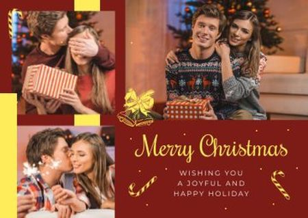 Merry Christmas Greeting Family with Presents Postcard Modelo de Design