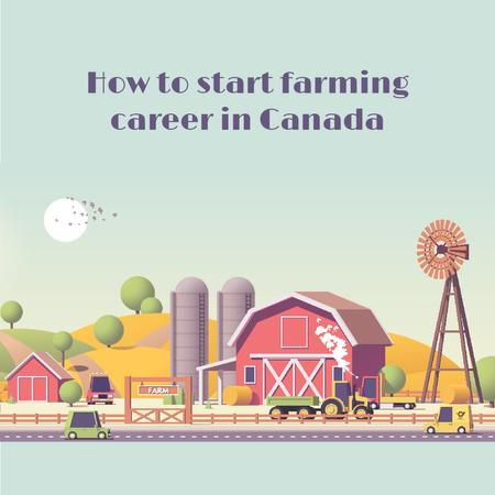 Plantilla de diseño de Agriculture Guide with Cars Driving by Farm Barn Animated Post