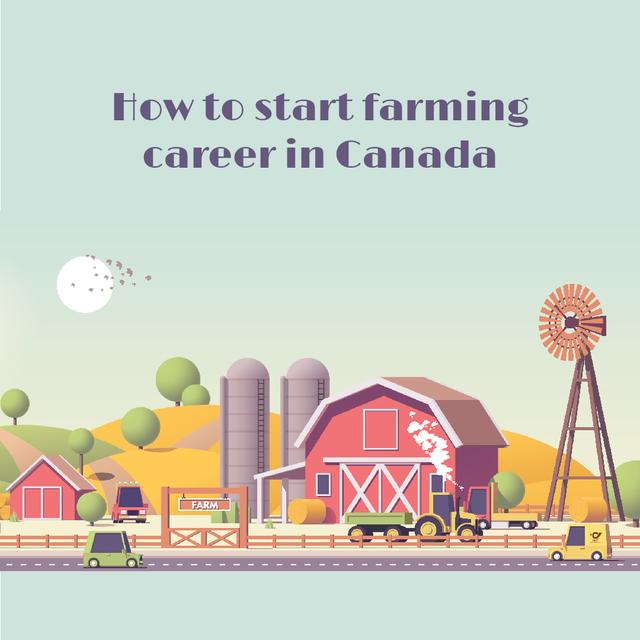 Agriculture Guide with Cars Driving by Farm Barn Animated Post Modelo de Design
