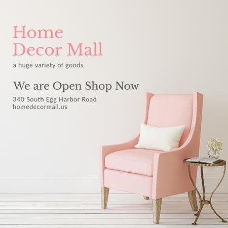 Home Decor Ad with Cozy Pink Chair Instagram – шаблон для дизайну