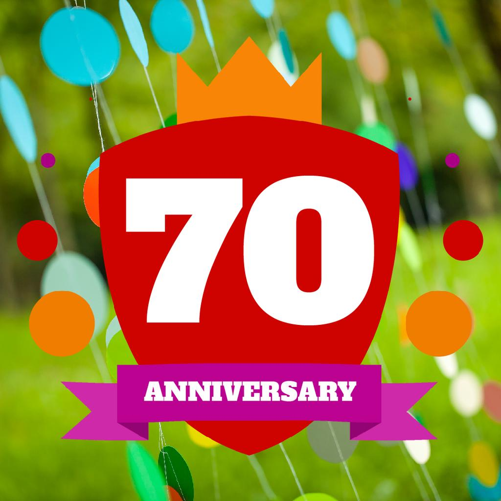 Anniversary celebration with Colourful Bubbles on Green — Create a Design