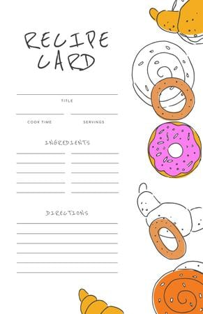 Funny Illustration of Donuts and Croissants Recipe Card Modelo de Design