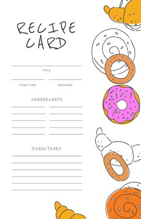 Funny Illustration of Donuts and Croissants Recipe Card Tasarım Şablonu