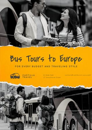 Modèle de visuel Bus Tours to Europe Offer with Travellers in city - Poster