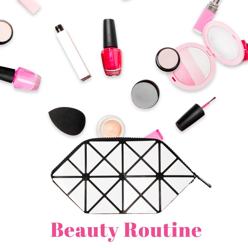 Beauty products filling cosmetic bag — Crea un design