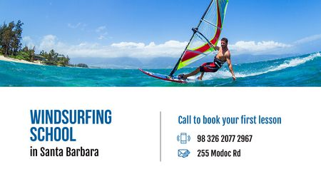 Plantilla de diseño de Windsurfing school Offer Business card